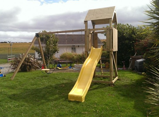 Children's climbing frame and duo seat
