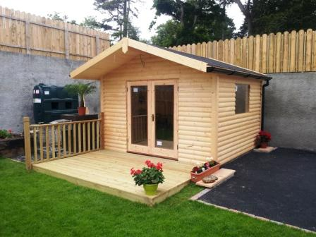 Garden Studio Log Cabins with felt shingles roof