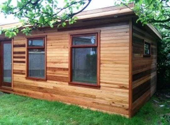 cedar cladded garden guest rooms