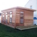 cedar cladded garden studio with pent roof