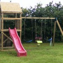 children's climbing frame with 2 single swings and a duo swing
