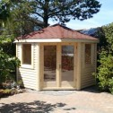 corner summer house with red shingled roof