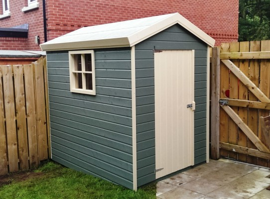 Garden shed with two tone paint finish