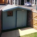 Bespoke garden shed with 2 tone paint finish