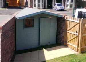 Bespoke garden sheds with 2 tone paint finish