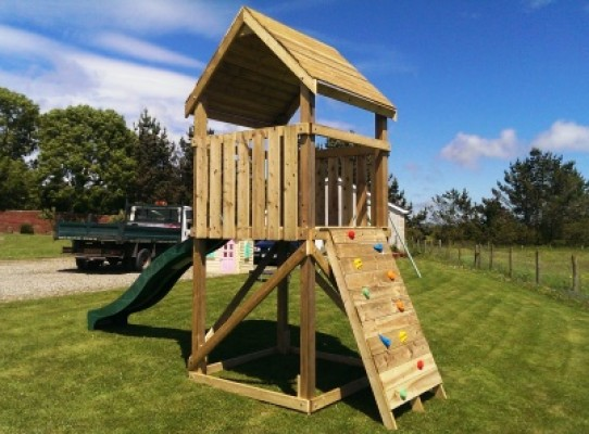 single look out tower and climbing wall