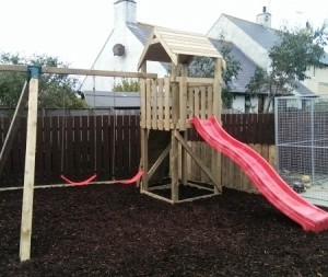 children's climbing frames and swing set