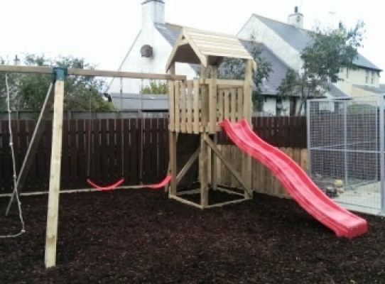 children's climbing frame with double swing set, climbing rope and red slide