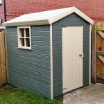Deluxe Garden Sheds with a two tone paint finish.