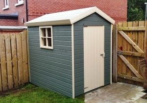 Deluxe Garden Shed with a two tone paint finish.